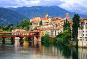 Bassano del Grappa, small medieval town in the Alps mountains, Veneto region, Italy - GlobePhotos