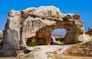 Bizarre hole in a rock formation in Cappadocia, famous tourist destination in central Turkey known for its unique geological landscapes - GlobePhotos
