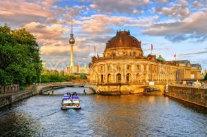 Bode museum on Spree river and Alexanderplatz TV tower in center of Berlin, Germany - GlobePhotos