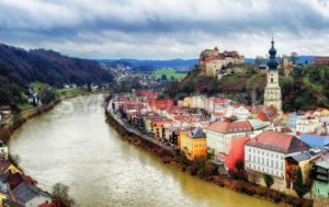 Burghausen, historical german town on Salzach river, Bavaria, Germany - GlobePhotos