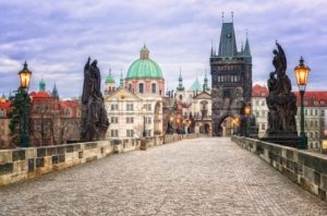 Charles bridge and the skyline of Prague, Czech Republic - GlobePhotos