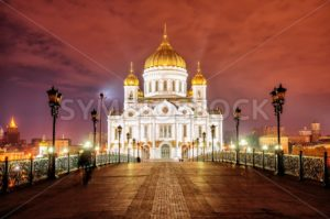 Christ the Saviour Cathedral in Moscow, Russia, at night - GlobePhotos
