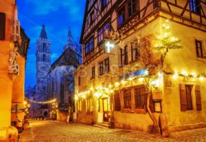 Christmas decoration lights at night in Rothenburg ob der Tauber, Germany - GlobePhotos