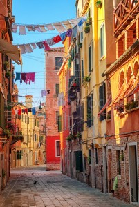 Clothes lines on a street in Venice, Italy - GlobePhotos
