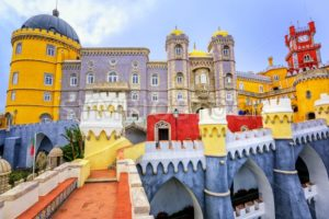 Colorful facade of Pena palace, Sintra, Portugal - GlobePhotos