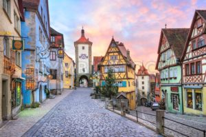 Colorful half-timbered houses in Rothenburg ob der Tauber, Germany - GlobePhotos