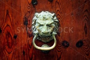 Decorative bronze lion head door knob - GlobePhotos