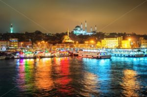 Fish boat restaurants on Golden Horn at night, Istanbul, Turkey - GlobePhotos