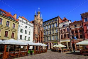 Gothic facades on the central square in Torun, Poland - GlobePhotos