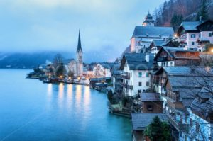 Hallstatt, Salzkammergut, Austria, in misty morning light. UNESCO World Culture Heritage site near Salzburg. - GlobePhotos