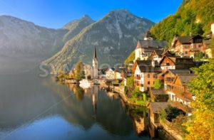 Hallstatt alpine village on a lake in Salzkammergut, Austria - GlobePhotos