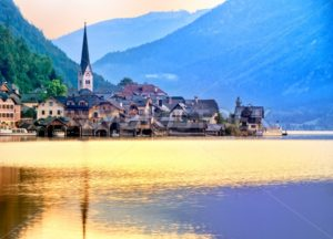 Hallstatt town on a lake in Alps mountains, Austria - GlobePhotos