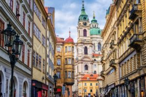 Historical baroque buildings in the center of Prague, Czech Republic - GlobePhotos