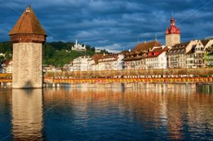 Lucerne, Switzerland, view over the old town with Chapel Bridge, Water Tower, Gutsch palace - GlobePhotos