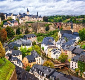 Luxembourg city, view over the Grund to upper town - GlobePhotos