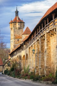 Medieval city wall in Rothenburg ob der Tauber, Germany - GlobePhotos