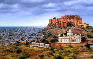 Mehrangharh Fort and Jaswant Thada mausoleum in Jodhpur, Rajasthan, India - GlobePhotos