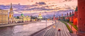 Moscow skyline in red evening light, Russian Federation - GlobePhotos - royalty free stock images