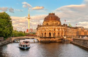 Museum island on Spree river and Alexanderplatz TV tower in center of Berlin, Germany - GlobePhotos