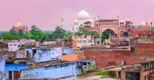 Old town of Agra with Taj Mahal, India - GlobePhotos
