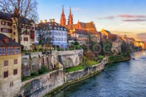 Old town of Basel with Munster cathedral facing the Rhine river, Switzerland - GlobePhotos