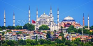 Panoramic view of Istanbul with Blue Mosque and Hagia Sophia cathedral from Marmara Sea, Turkey - GlobePhotos