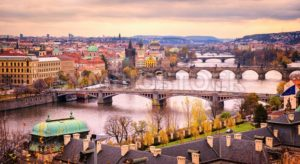Prague bridge panorama in sunset light, Czech Republic - GlobePhotos