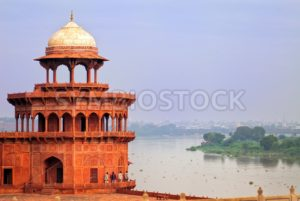 Red tower of Taj Mahal complex in Agra, India - GlobePhotos