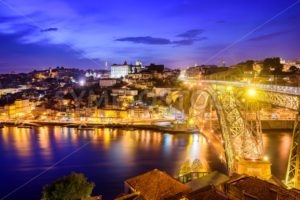 Ribeira and the Dom Luiz bridge at night, Porto, Portugal - GlobePhotos