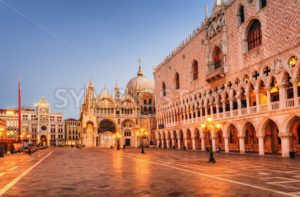 San Marco cathedral and Doge's Palace in the early morning light, Venice, Italy - GlobePhotos