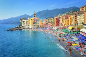 Sand beach in Camogli by Genoa, Italy - GlobePhotos