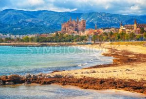 Sand beach in Palma de Mallorca, gothic cathedral in background, Spain - GlobePhotos