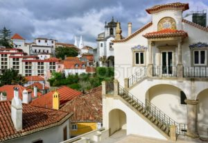 Sintra town, Portugal, the National Palace in background - GlobePhotos