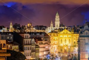 Skyline of Porto at night, Portugal - GlobePhotos