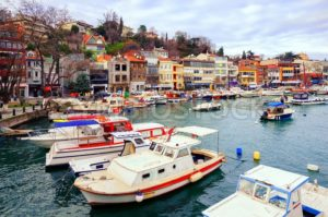 Small colorful harbor in Istanbul city, Turkey - GlobePhotos