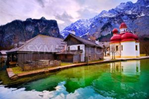 St Bartholomew church on mountain lake Konigsee in german Alps by Munich, Germany - GlobePhotos