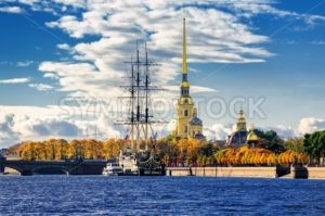 St Petersburg, Russia. Sailing ship anchored by the Peter and Paul Fortress. - GlobePhotos