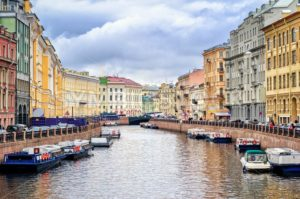 St Petersburg, view over Moyka river from Nevsky prospekt - GlobePhotos