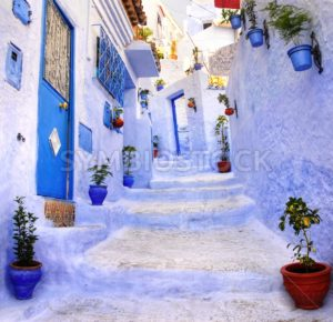 Street in the blue city Chefchaouen, Morocco - GlobePhotos