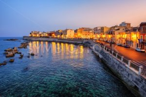 Syracuse town on sunset, Sicily, Italy - GlobePhotos - royalty free stock images
