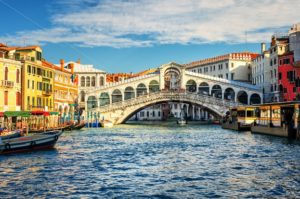 The Grand Canal and Rialto bridge, Venice, Italy - GlobePhotos