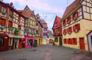 Traditional half timbered houses in Colmar, Alsace, France - GlobePhotos