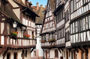 Traditional half-timbered houses in the old town of Strasbourg, Alsace, France - GlobePhotos