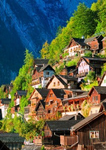 Traditional wooden houses on the mountain slope in Hallstatt, Austria - GlobePhotos