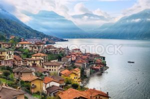 View of Como Lake, Milan, Italy, with Alps mountains in background - GlobePhotos