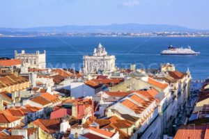 View over the roofs of downtown Lisbon to Tagus river, Portugal - GlobePhotos