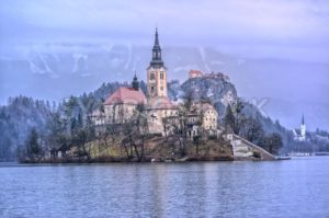 Virgin Mary church on the lake island in Bled, Slovenia - GlobePhotos