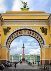 Winter Palace and Alexander Column through the Arch of General Staff building, St Petersburg, Russia - GlobePhotos - royalty free stock images