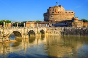 Castel Sant'Angelo reflecting in Tiber river, Rome, Italy - GlobePhotos - royalty free stock images