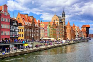 Gothic facades facing Motlawa River in Gdansk, Poland - GlobePhotos - royalty free stock images